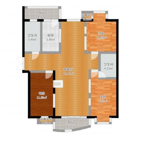 君悦豪庭3室2厅2卫1厨128.00㎡户型图