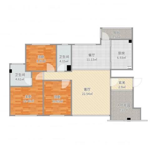 壮龙・幸福新城3室2厅3卫1厨120.00㎡户型图