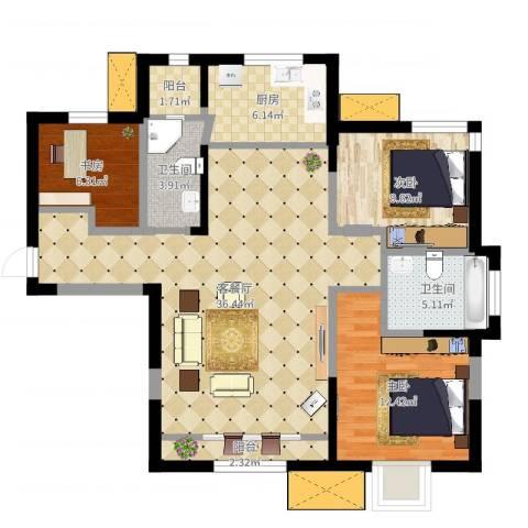 新梅江锦绣里3室2厅2卫1厨105.00㎡户型图