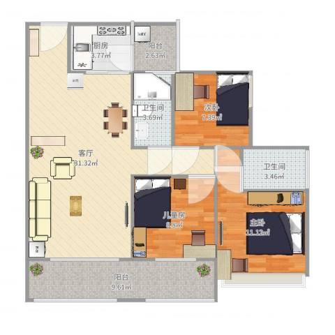 保利亚奥北苑3室1厅2卫1厨102.00㎡户型图