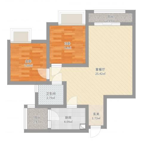 江山假日2室2厅1卫1厨65.00㎡户型图