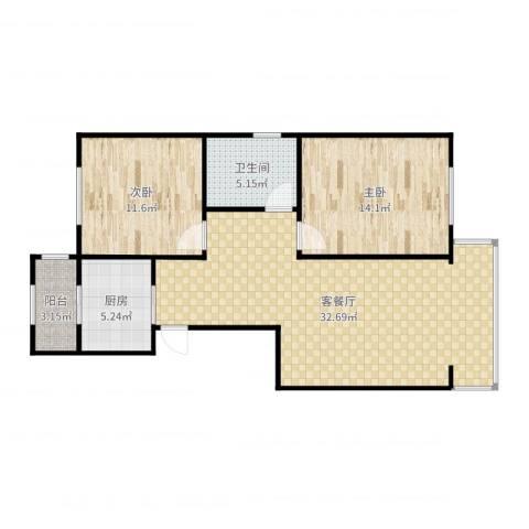 侯台碧水家园2室2厅1卫1厨90.00㎡户型图
