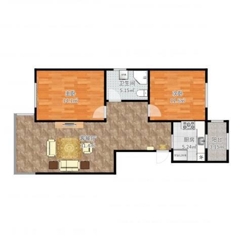 侯台碧水家园2室2厅1卫1厨88.00㎡户型图