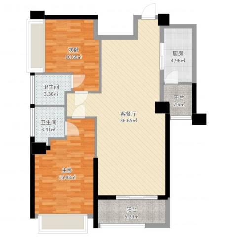 五洲家园2室2厅2卫1厨104.00㎡户型图