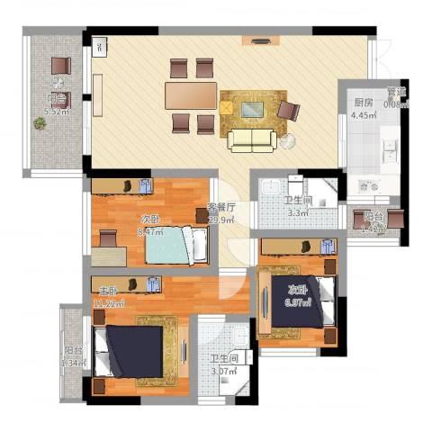 中天会展城3室2厅2卫1厨112.00㎡户型图