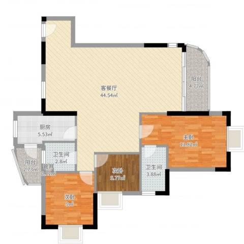 江畔华庭3室2厅2卫1厨116.00㎡户型图