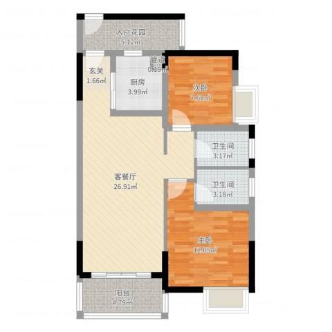 锦龙又一城二期君誉2室2厅2卫1厨84.00㎡户型图