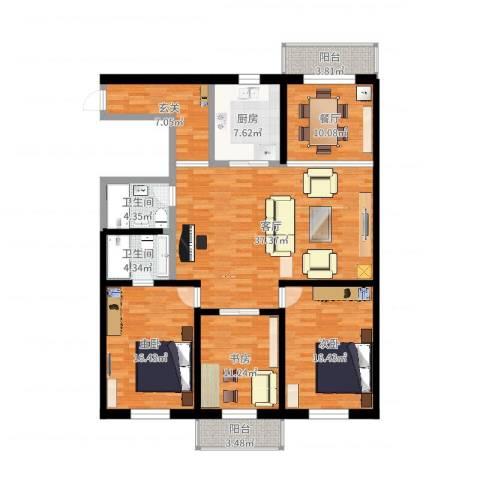 谊城公寓3室2厅2卫1厨159.00㎡户型图