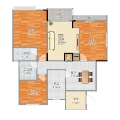 阳光绿城3室2厅2卫1厨128.00㎡户型图