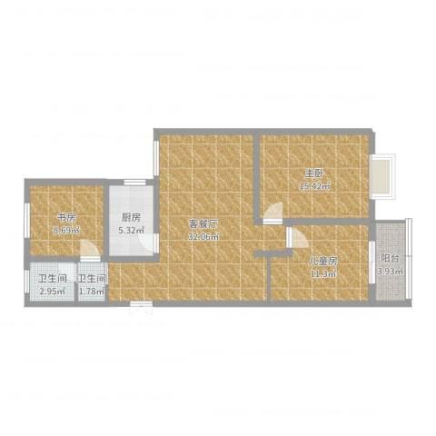 华城翠竹园3室2厅2卫1厨102.00㎡户型图
