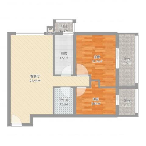 百家湖别墅花园2室2厅2卫1厨74.00㎡户型图