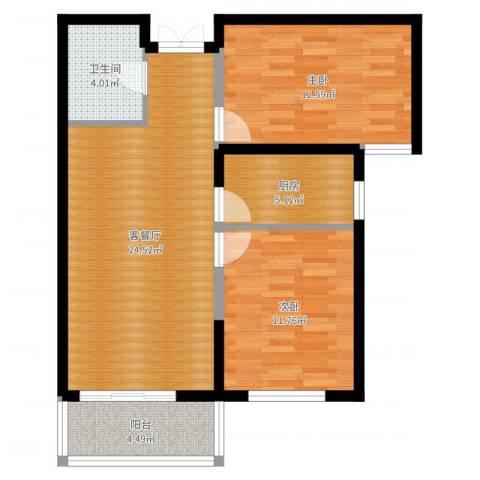 四季风景2室2厅1卫1厨78.00㎡户型图