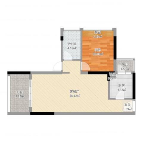 上东国际二期1室2厅1卫1厨68.00㎡户型图