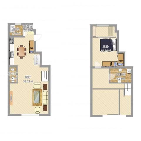 天房意境1室1厅2卫1厨107.00㎡户型图