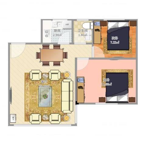 丰泽园2室1厅1卫1厨61.00㎡户型图