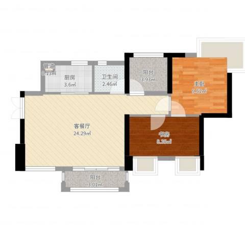 深业东城御园2室2厅1卫1厨69.00㎡户型图