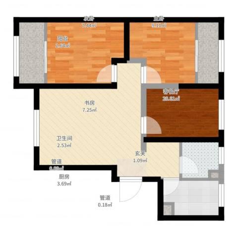 燕郊首尔甜城3室2厅1卫1厨84.00㎡户型图