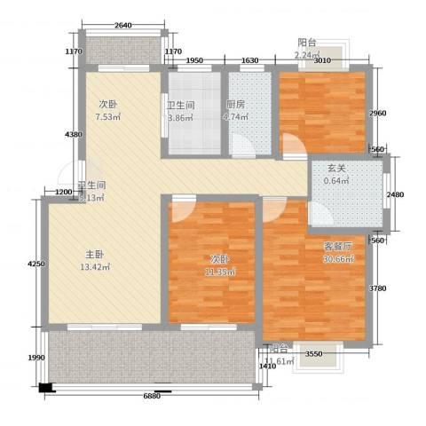 蓝庭国际3室2厅2卫1厨131.00㎡户型图