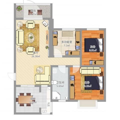 东方文华苑2室1厅1卫1厨93.00㎡户型图