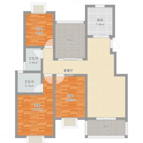 美岸青城幸福里3室2厅2卫1厨154.00㎡户型图