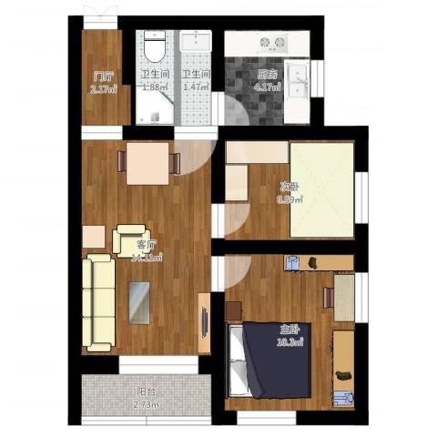八角中里2室1厅2卫1厨54.00㎡户型图