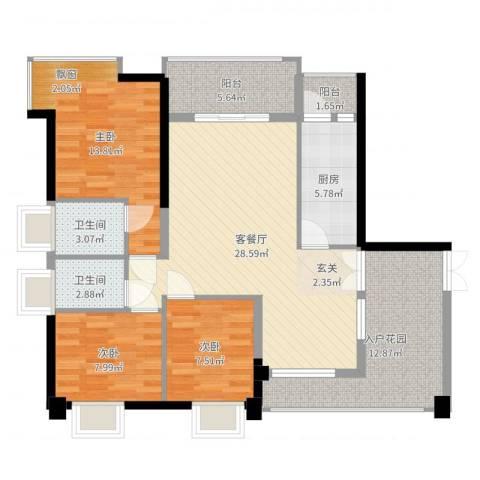 钰海山庄3室3厅2卫1厨112.00㎡户型图