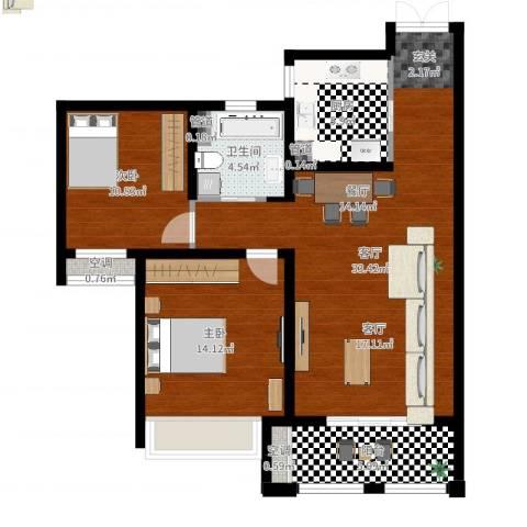 尼德兰花园二期2室1厅3卫3厨96.00㎡户型图