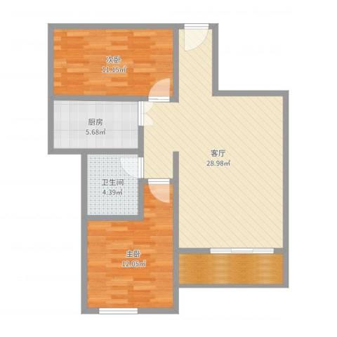 东方海岸2室1厅1卫1厨83.00㎡户型图