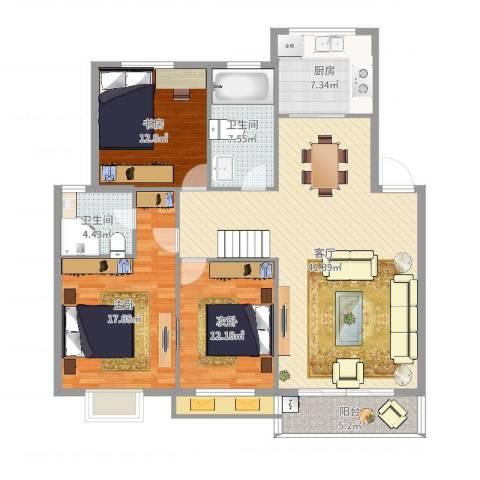 宁沁家园3室1厅2卫1厨138.00㎡户型图