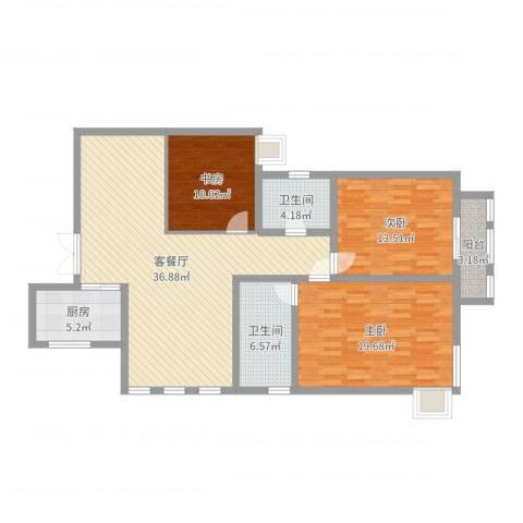 白桦林间3室2厅2卫1厨124.00㎡户型图