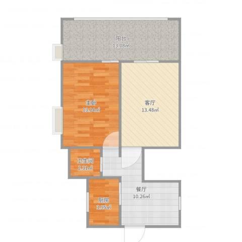 新华社家属楼1室2厅1卫1厨70.00㎡户型图