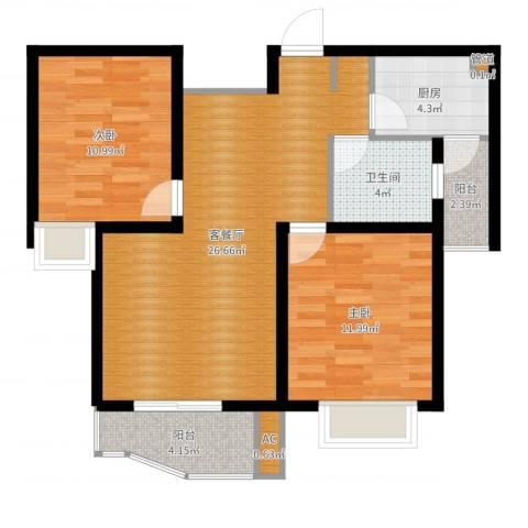 名馨花园2室2厅1卫1厨81.00㎡户型图