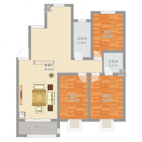 广枫名苑3室2厅3卫1厨87.38㎡户型图