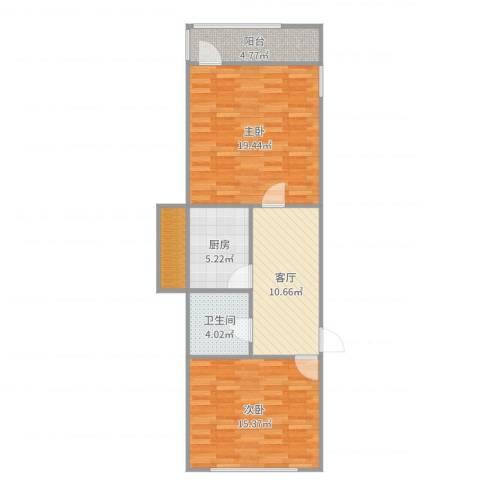 洪苑小区2室1厅1卫1厨77.00㎡户型图