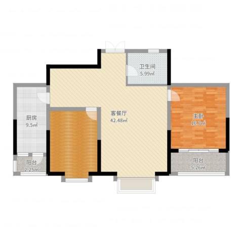 奥林国际公寓1室2厅1卫1厨121.00㎡户型图