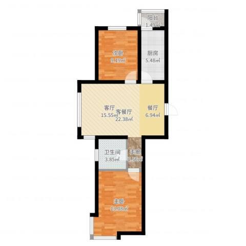 韩建大成府2室2厅1卫1厨69.00㎡户型图