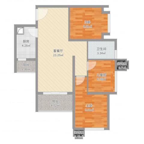 海棠阁3栋三房二厅09(乙)户型3室2厅3卫1厨76.00㎡户型图