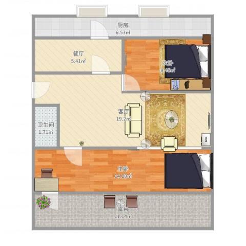 七里堡小区2室2厅1卫1厨83.00㎡户型图