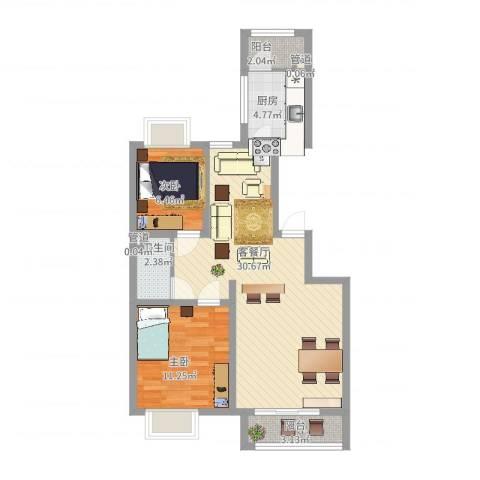 银海湾2室2厅1卫1厨89.00㎡户型图