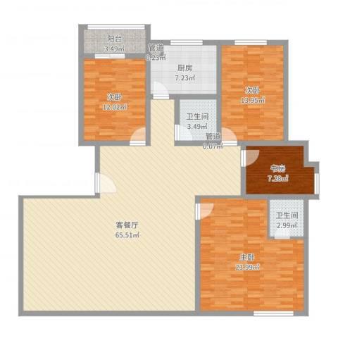 银湖柳苑4室2厅2卫1厨175.00㎡户型图