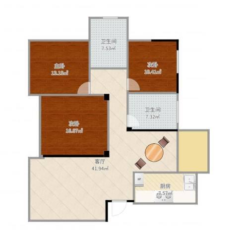 平湖碧水云天143.953室1厅2卫1厨137.00㎡户型图