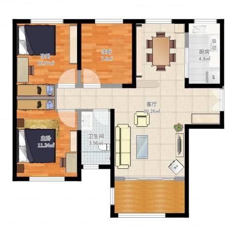 力高阳光海岸3室1厅1卫1厨93.00㎡户型图