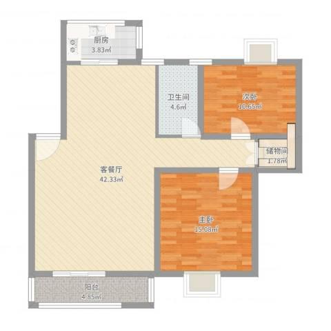 华顺天门湖花园2室2厅1卫1厨104.00㎡户型图