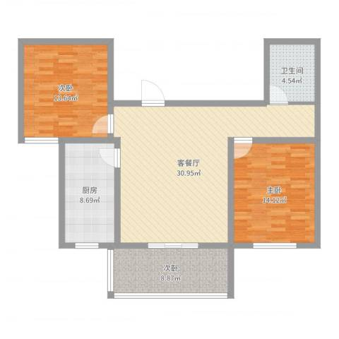 运河鑫城3室2厅1卫1厨101.00㎡户型图