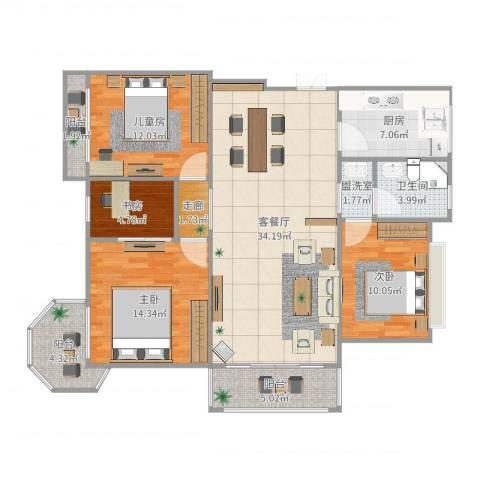 金上海湾卢先生4室4厅1卫1厨126.00㎡户型图
