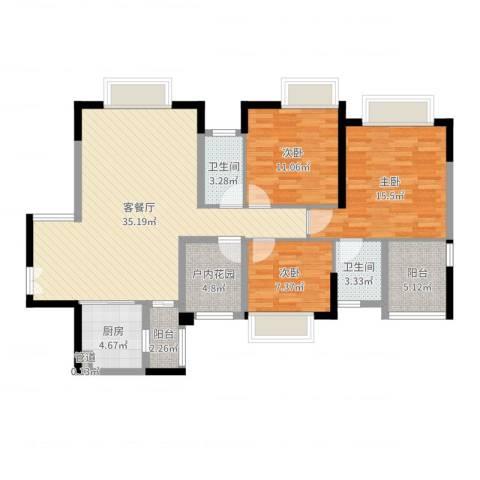 世纪城国际公馆香榭里3室2厅4卫1厨116.00㎡户型图