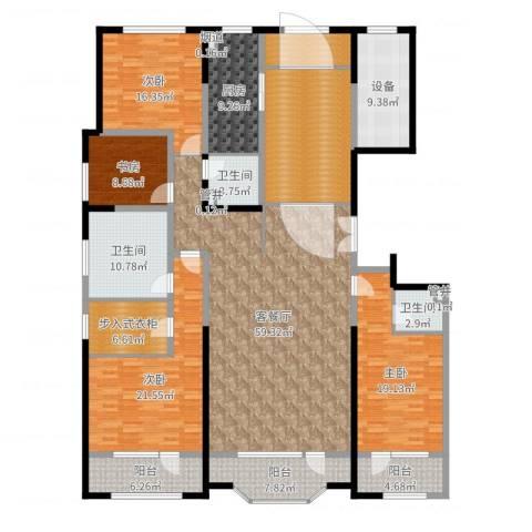 保利海德公园4室2厅3卫1厨262.00㎡户型图
