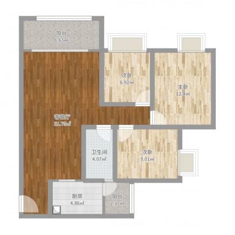 恒安世纪花城1073室2厅1卫1厨98.00㎡户型图