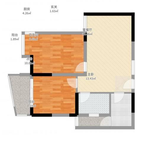 同人・怡和园2室2厅1卫1厨86.00㎡户型图