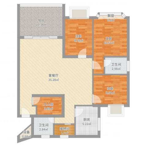 王府花园3室2厅2卫1厨115.00㎡户型图